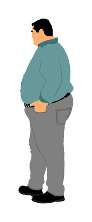 Fat man is worry about health vector illustration isolated on white background. Overweight person trouble. Big boy think about food calorie. Difficulties in moving. Breathless sweaty man need break.