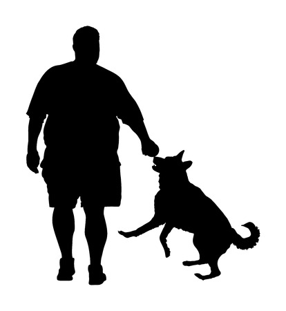 Fat man walking with dog vector silhouette. Health care outdoor activity. Overweight person trouble. German Shepherd running and playing with owner.Big boy think about food calorie. Difficult moving. Illustration
