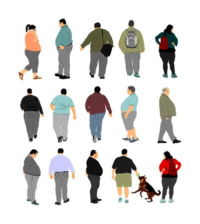 Fat man walking health care activity vector. Overweight people trouble. Big boy difficult moving. Breathless sweaty fat person need break. Big belly fat couple. Fat woman. Heavy weight girl. Fatness