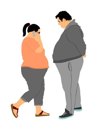 Fat couple in love on date. Fat man and woman ordering food by mobile phone vector. Overweight person trouble. Big boy think about calorie. Difficulties in moving. Breathless sweaty need break.