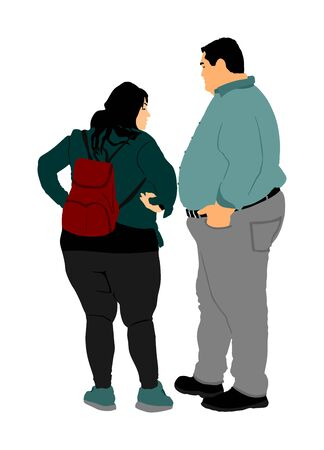 Fat couple in love on date. Fat man and woman is worry about health vector. Overweight person trouble. Big boy think about food ordering calorie. Difficulties in moving. Breathless sweaty need break.
