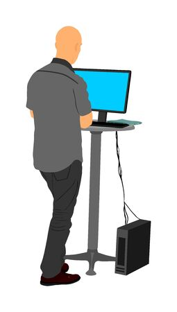 Man standing and working on computer. IT worker internet searching. Seller in shop. Boy assistant in supermarket store. Advertising manager find solution for marketing. Modern vendor help for customer