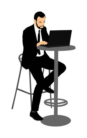 Young urban professional man working on laptop in city restaurant or office.  Employee looking at computer monitor during working day in office. Officer in a suit sitting and analyzes finance.