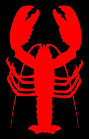 Red lobster vector silhouette isolated on black background. Crayfish or Shellfish symbol. Seafood sign for restaurant. Fresh dinner.
