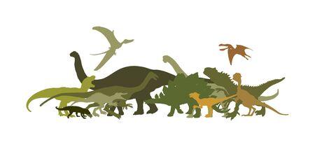 Dinosaurs large collection. T Rex vector silhouette isolated on white background. Tyrannosaurus shadow symbol. Jurassic era. Dino sign. Triceratops, Stegosaurus, Brachiosaurus, Pteranodon, Spinosaurus Çizim