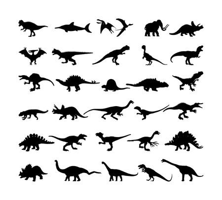 Dinosaurs large collection. T Rex vector silhouette isolated on white background. Tyrannosaurus shadow symbol. Jurassic era. Dino sign. Triceratops, Stegosaurus, Brachiosaurus, Pteranodon, Spinosaurus Illustration