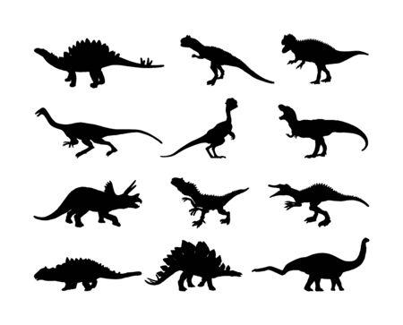 Dinosaurs large collection. T Rex vector silhouette isolated on white background. Tyrannosaurus shadow symbol. Jurassic era. Dino sign. Triceratops, Stegosaurus, Brachiosaurus, Pteranodon, Spinosaurus 일러스트