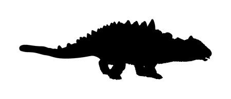 Ankylosaurus vector silhouette isolated on white background. Dinosaurs symbol. Jurassic era. Dino sign. Çizim