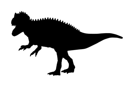 T Rex vector silhouette isolated on white background. Tyrannosaurus Dinosaurs shadow symbol. Jurassic era. Dino sign.