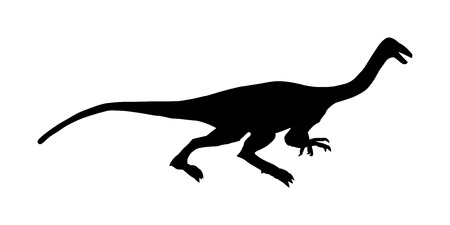 Gallimimus vector silhouette isolated on white background. Anchisaurus Dinosaurs symbol. Jurassic era. Dino sign. Coelophysis shadow.