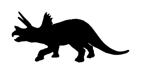 Triceratops vector silhouette isolated on white background. Dinosaurs symbol. Triceratops horridus dinosaur from the Jurassic era. Styralosaurus. Dino sign.