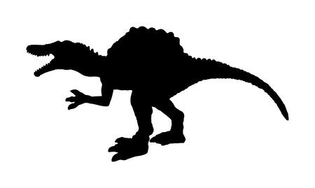 Spinosaurus vector silhouette isolated on white background. Dinosaurs symbol. Jurassic era. Dino sign. Çizim