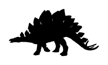 Stegosaurus vector silhouette isolated on white background. Dinosaurs symbol. Jurassic era. Dino sign.