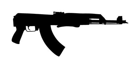 Fucile isolato su sfondo bianco vettore Fucile Kalashnikov, pistola mortale, arma pericolosa, esercito nero e arma da fuoco da caccia, guerra mondiale 2, anti terrorismo, aggressione, braccio, macchina militare, automatico Vettoriali