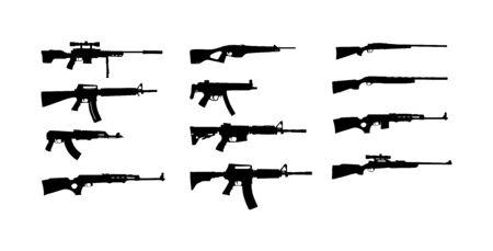 Colección de ilustración de silueta de vector de rifle aislado sobre fondo blanco. Silueta de símbolo de rifle de francotirador, semiautomático, carabina. Armas del ejército y de la policía. Juego de escopeta y pistolas. Poderoso mortal