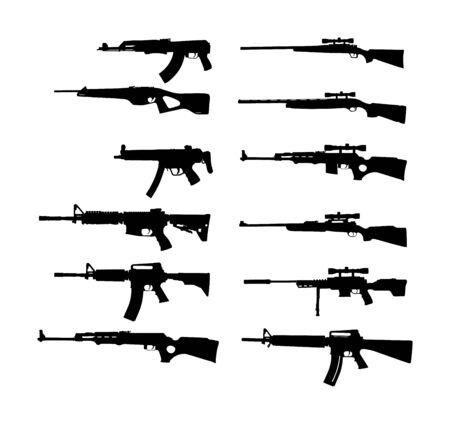 Sammlung von Gewehrvektorschattenbildillustration lokalisiert auf weißem Hintergrund. Scharfschützengewehr-Symbolsilhouette, halbautomatisch, Karabiner. Armee- und Polizeiwaffen. Schrotflinte und Pistolen eingestellt. Mächtig tödlich Vektorgrafik