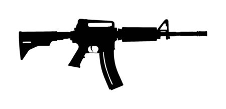 Rifle vector silhouette isolated on white background. Military and police weapon.