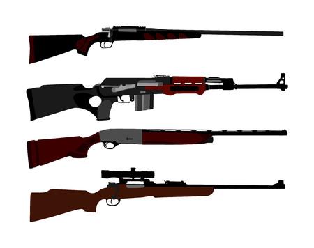 Colección de ilustración de vector de rifle aislado sobre fondo blanco. Silueta de símbolo de rifle de francotirador, semiautomático, carabina. Armas del ejército y de la policía. Juego de escopeta y pistolas. Poderosa arma mortal.