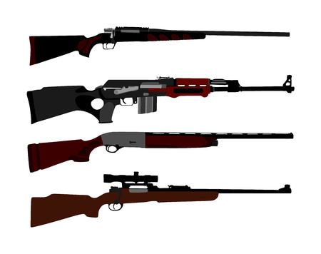 Collection of rifle vector illustration isolated on white background. Sniper rifle symbol silhouette, semi automatic, carbine. Army and police weapons. Shotgun and guns set. Powerful deadly weapon.