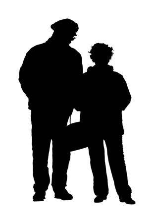 Happy elderly seniors couple together vector silhouette isolated. Old man person walking without stick. Mature old people active life. Grandfather and grandmother in love. Health care in nursing home  イラスト・ベクター素材