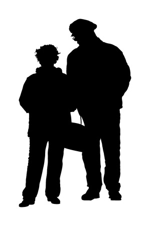 Happy elderly seniors couple together vector silhouette . Old man person walking without stick. Mature old people active life. Grandfather and grandmother in love. Health care in nursing home.