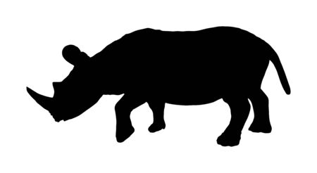 Rhinoceros vector silhouette illustration isolated on white background. Rhino silhouette. Animal from Africa. Иллюстрация