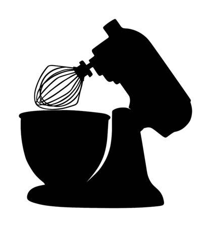 Moderne Küchenmixer-Vektor-Silhouette isoliert auf weißem Hintergrund. Ausrüstung zum Kochen und Mischen zu Hause oder im Restaurant. Professionelle Süßigkeitsmaschine zum Backen von Lebensmitteln. Vektorgrafik