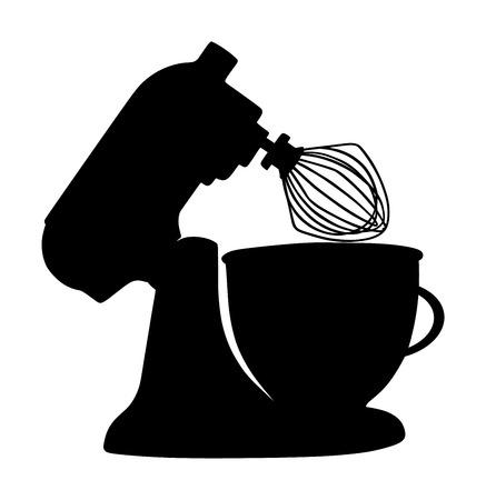Siluetta di vettore di miscelatore cucina moderna isolato su priorità bassa bianca. Attrezzature per cucinare e mescolare a casa o al ristorante. Macchina per dolci professionale per la cottura di alimenti. Vettoriali