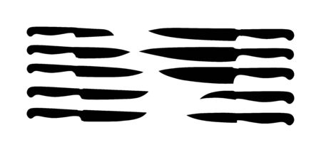 Kitchen knives set vector silhouette illustration. Kitchen knife vector isolated on white background. Major tool for cooking in home or restaurant.
