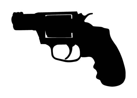 Revolver symbol. Pistol Gun Vector silhouette isolated on white background. Risk in conflict situation. police and military weapon. Defense help option against enemy aggressor. Ilustração