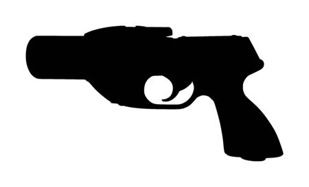 Flare gun vector silhouette isolated on white background. Signal pistol for survival stray people. SOS alert weapon for rescue help. Start shoot sign for race. Ilustração