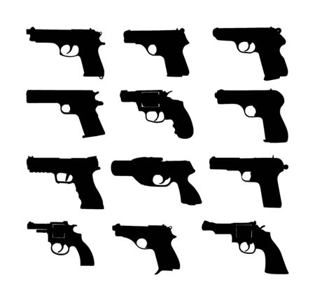 Pistol Gun Icon Vector Illustration isolated on white background. Risk in conflict situation. police and military weapon. Defense help option against enemy aggressor. Pistol gun, revolver collection. Ilustração