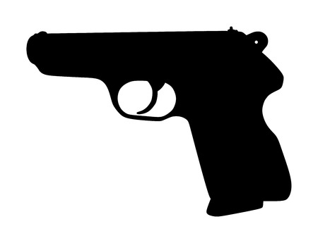 Pistol Gun Icon Vector Illustration isolated on white background. Risk in conflict situation. police and military weapon. Defense help option against enemy aggressor.