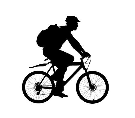 Male bicyclist riding a bicycle vector silhouette isolated on white background. Sportsman in race illustration. Biker Giro tour competition. Man riding bicycle with backpack and helmet. Boy on bike.