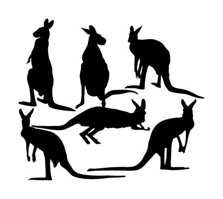 Kangaroo family vector silhouette illustration isolated on white background. Australian animal portrait. Tourist symbol souvenir. Fauna best jumper. Zoo attraction. Vektorové ilustrace
