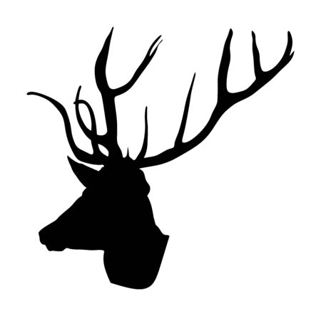 Deer head with antlers vector silhouette isolated on white background. Reindeer, proud Noble Deer male trophy. Powerful buck, red deer. Hunter hunting  wild animal, symbol of male power. Фото со стока - 129274124