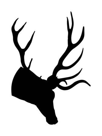 Hirschkopf mit Geweihvektorschattenbild lokalisiert auf weißem Hintergrund. Rentier, stolze Noble Deer männliche Trophäe. Mächtiger Bock, Rotwild. Jäger, der wildes Tier jagt, Symbol der männlichen Macht.