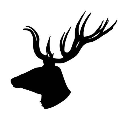 Deer head with antlers vector silhouette isolated on white background. Reindeer, proud Noble Deer male trophy. Powerful buck, red deer. Hunter hunting wild animal, symbol of male power.