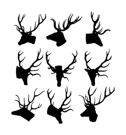 Deer head with antlers vector silhouette illustration isolated on white background. Reindeer, proud Noble Deer male trophy. Powerful buck, red deer. Hunter hunting  wild animal, symbol of male power.