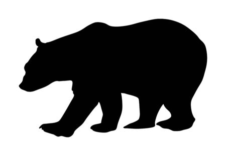 Bear vector silhouette isolated on white background. Grizzly symbol. Big animal, nature wildlife concept. Фото со стока - 129274126