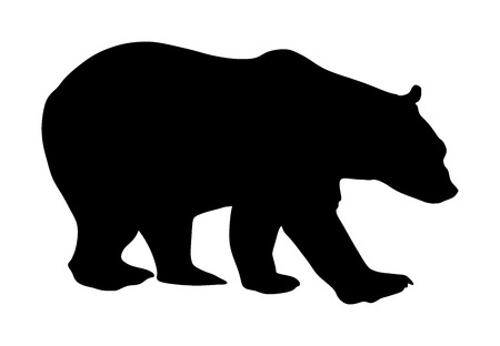 Bear vector silhouette illustration isolated on white background. Grizzly symbol. Big animal, nature wildlife concept. Illustration