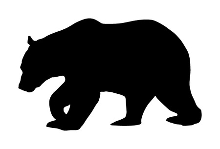 Bear vector silhouette illustration isolated on white background. Grizzly symbol. Big animal, nature wildlife concept. Ilustracja