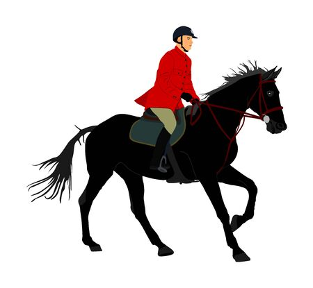 Elegant racing horse in gallop vector illustration isolated on white background. Jockey riding jot horse in race. Hippodrome sport event. Entertainment and gambling. Derby betting for ambler champion.