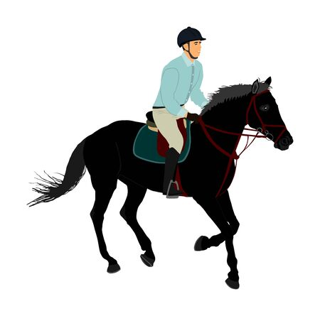 Elegant racing horse in gallop vector illustration isolated on white background. Jockey riding jot horse in race. Hippodrome sport event. Entertainment and gambling. Derby betting for ambler champion. 스톡 콘텐츠 - 129274139
