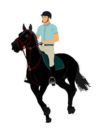 Elegante cavallo da corsa nel galoppo illustrazione vettoriale isolato su sfondo bianco. Fantino a cavallo jot cavallo in gara. Evento sportivo ippodromo. Intrattenimento e gioco d'azzardo. Scommesse sul derby per il campione ambler. Vettoriali