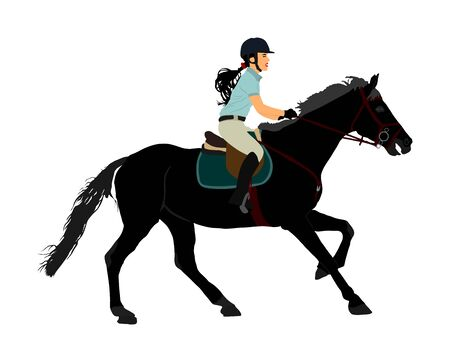 Elegant racing horse portrait vector illustration isolated on white background. Jockey lady riding horse. Hippodrome sport event. Entertainment gambling. Equestrian rider in jumping over barrier show. Фото со стока - 129274142
