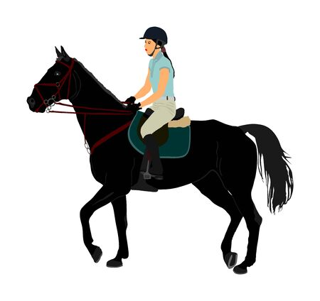 Elegant racing horse portrait vector illustration isolated on white background. Jockey lady riding horse. Hippodrome sport event. Entertainment gambling. Equestrian rider in jumping over barrier show. Фото со стока - 129274141