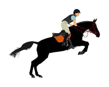 Elegant racing horse in gallop vector illustration isolated on white background. Jockey riding horse. Hippodrome sport event. Entertainment gambling. Equestrian rider in jumping over barrier show.
