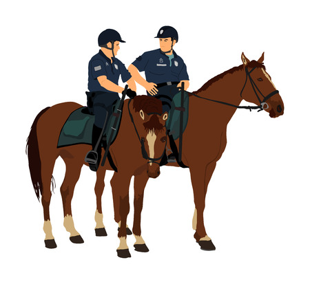 Elegant horses with jockeys vector illustration isolated on white background. Police man riding horse. Hippodrome sport event. Police mounted officer for crowd control situation protest policemen patrol