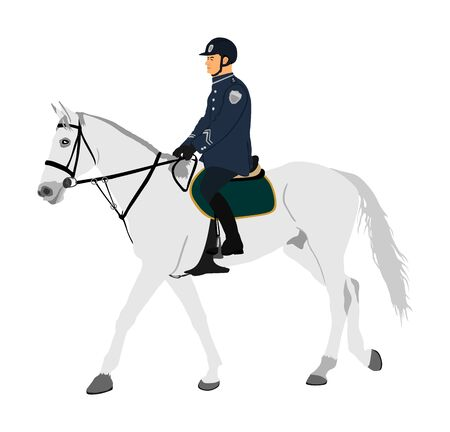 Elegant horse with jockey vector illustration isolated on white background. Police man riding horse. Hippodrome sport event. Police mounted officer for crowd control situation protest policemen patrol
